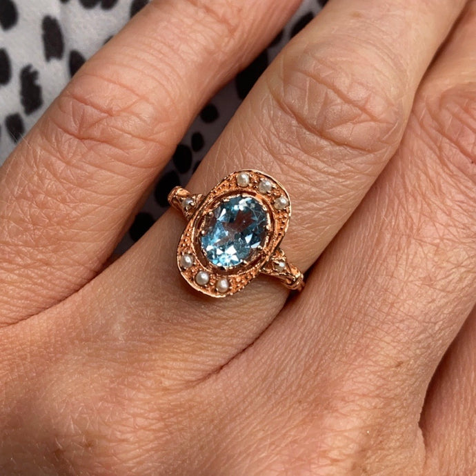 9ct Rose Gold Blue Topaz & Seed Pearl Ring