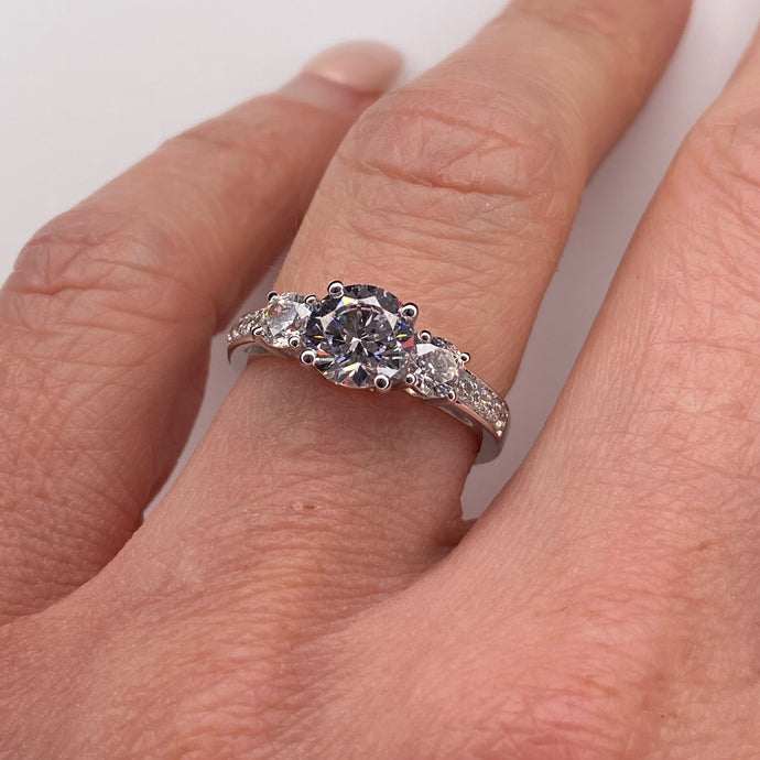 9ct White Gold CZ Trilogy Ring with Pavé