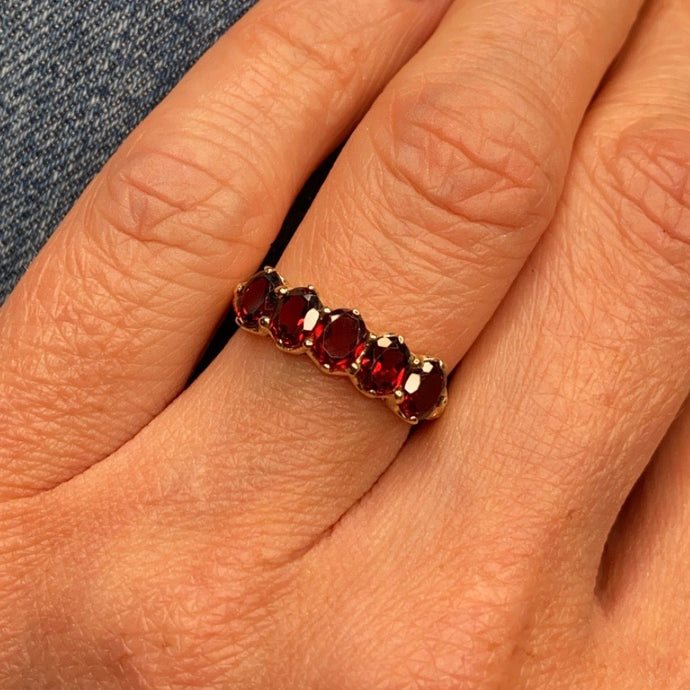 9ct Gold Garnet Dress Ring - Five Stone