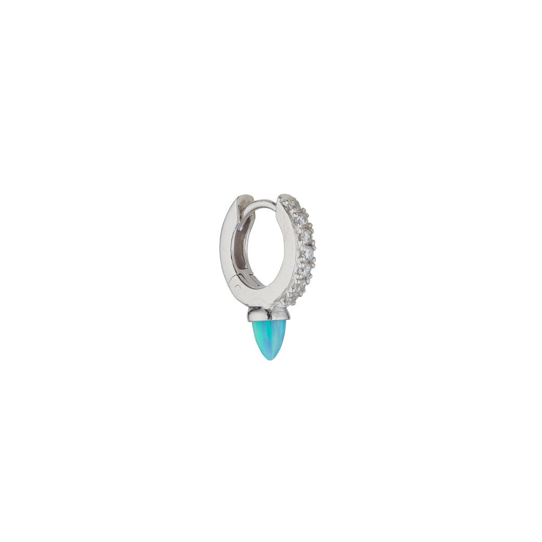 Ear Candy Blue Opalique Bullet CZ Huggie Earring