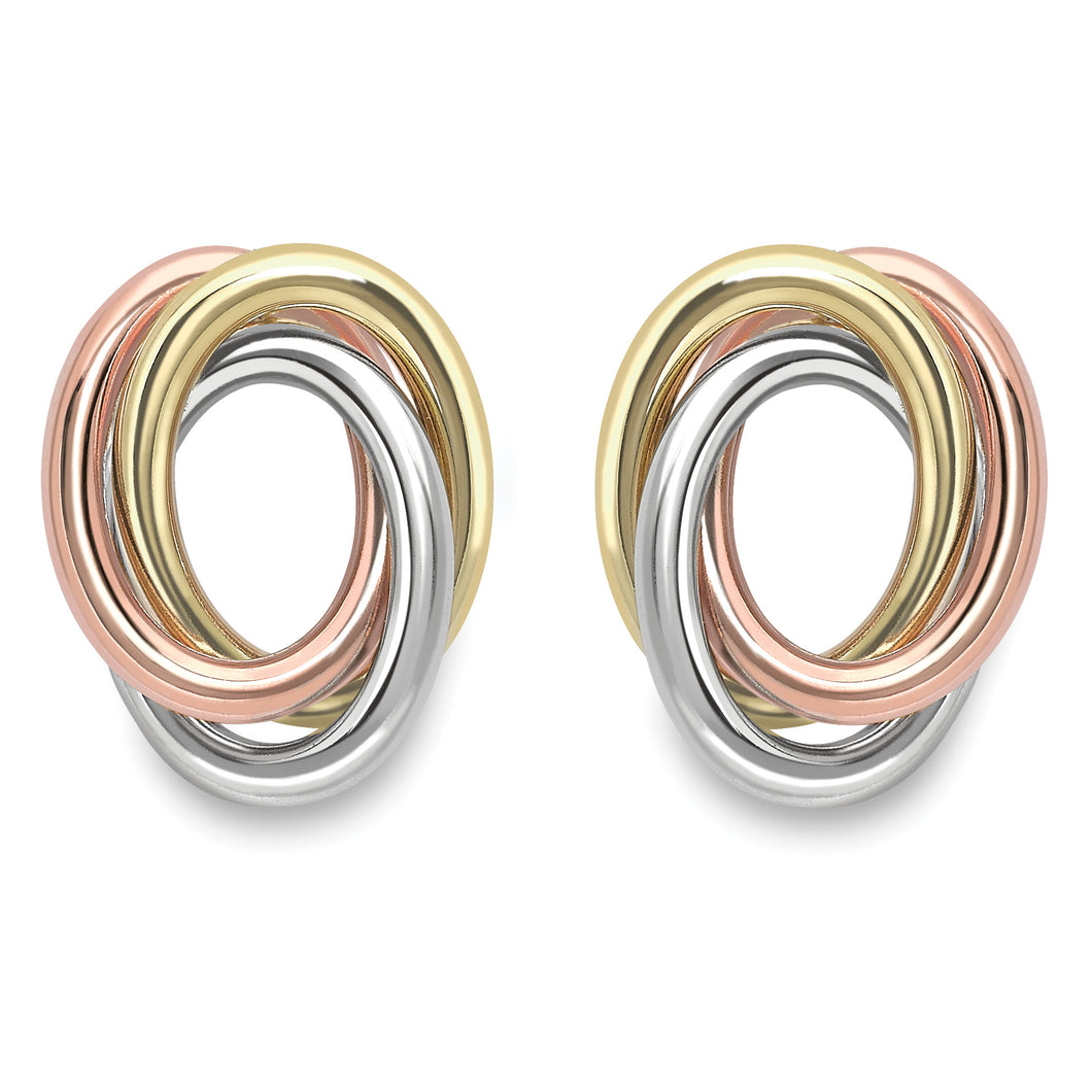 9ct Gold Oval Trinity Knot Earrings