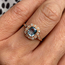 Load image into Gallery viewer, 9ct Rose Gold Blue Topaz & Diamond Ring
