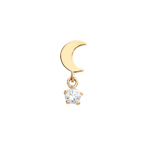 Ear Candy 9ct Gold CZ Moon Cartilage Stud