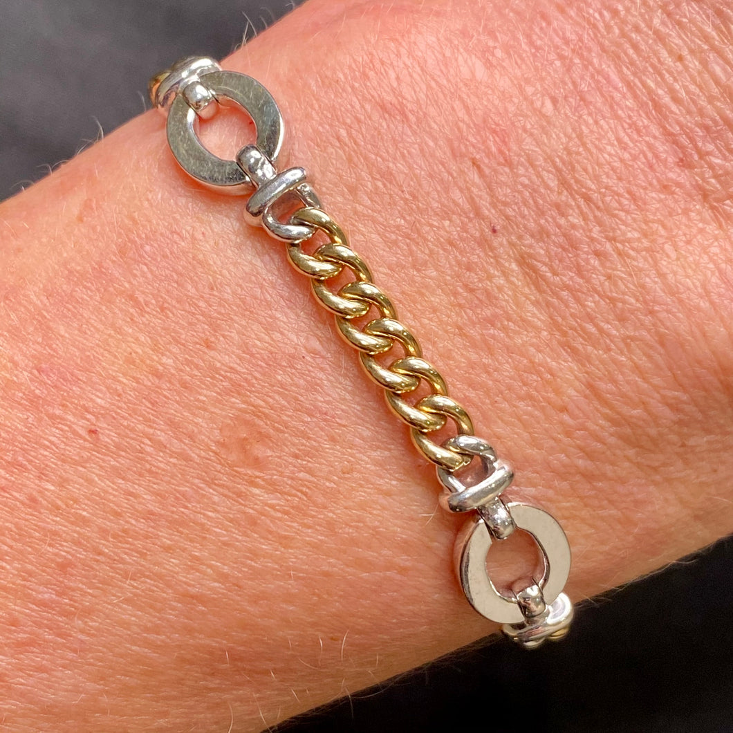 9ct Gold Two Tone Curb and Oval Link Bracelet