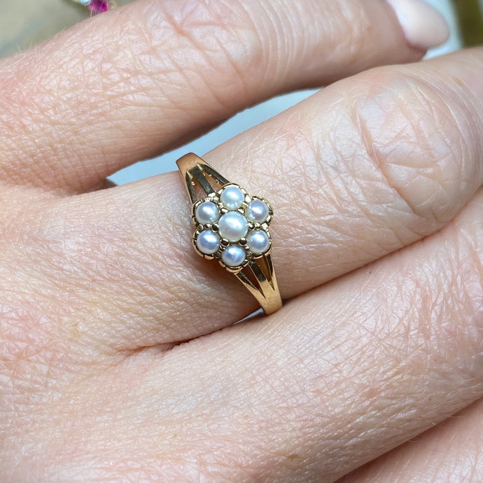 9ct Gold Seed Pearl Flower Design Ring