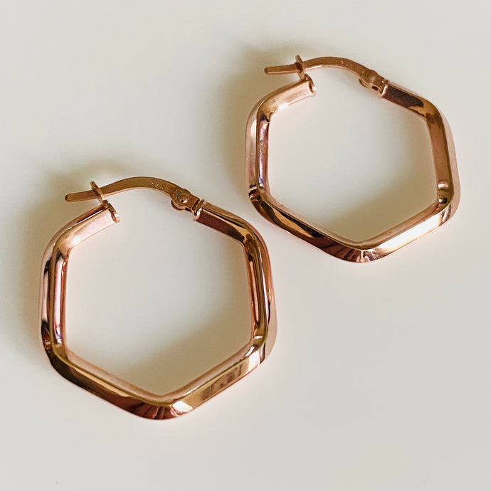 9ct Rose Gold Hexagonal Hoop Earrings