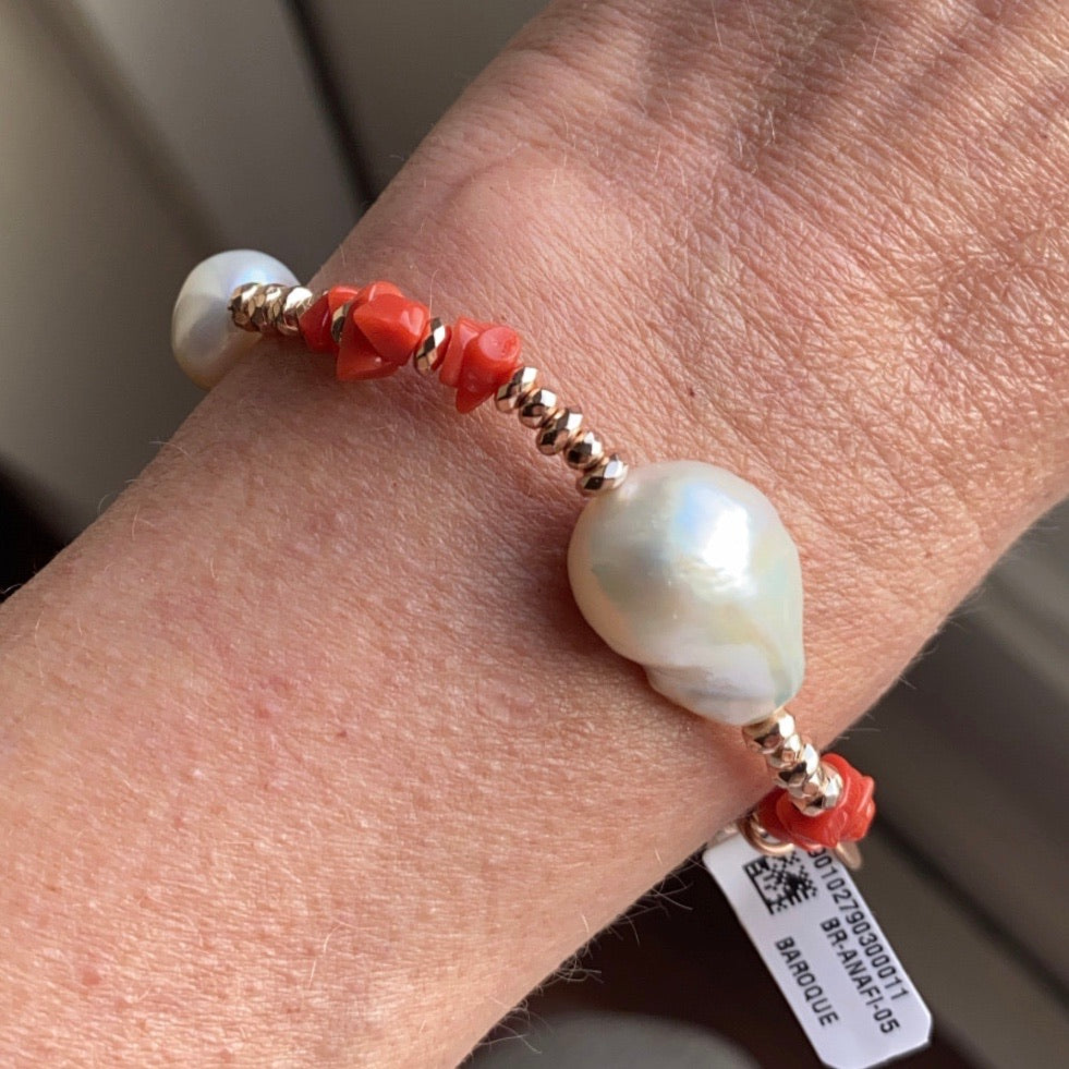 Baroque Pearl & Red Coral Stretch Bracelet