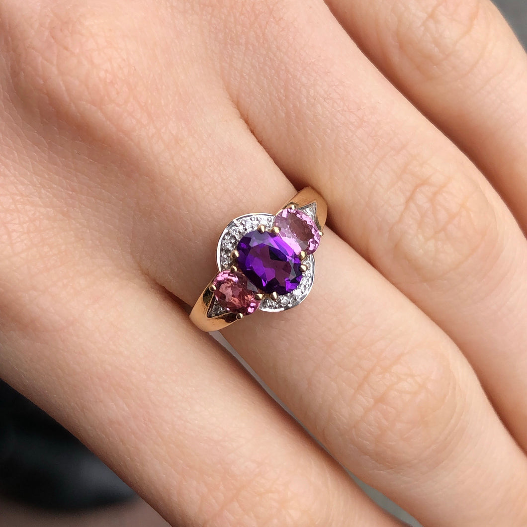 9ct Gold Amethyst, Pink Tourmaline & Diamond Ring