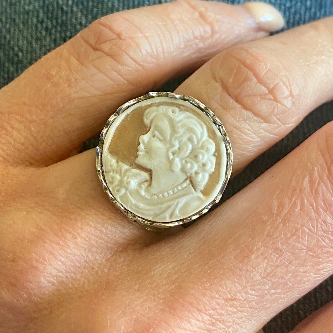 Silver Lady Cameo Ring