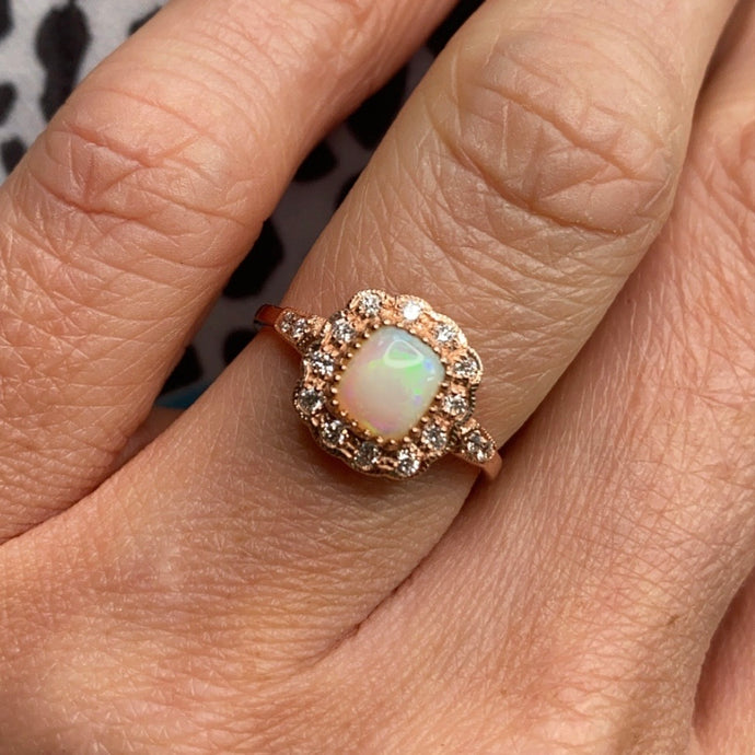 9ct Rose Gold Gem Opal & Diamond Ring