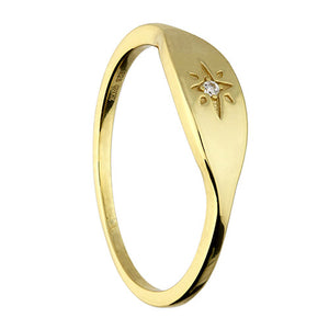Sunshine CZ Star Signet Ring
