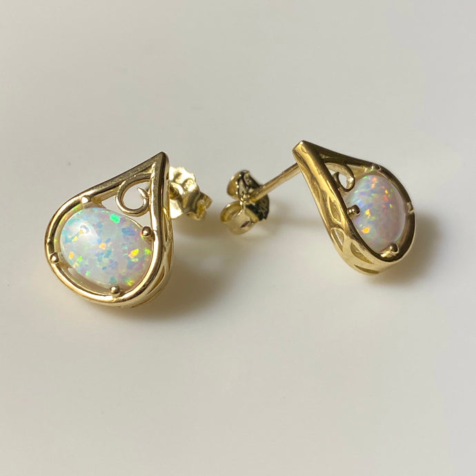 9ct Gold Opalique Fancy Stud Earrings