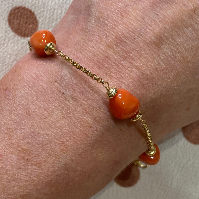 18ct Gold Soft Red Coral & Chain Bracelet