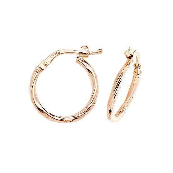 9ct Gold Classic 15mm Bamboo Hoop Earrings