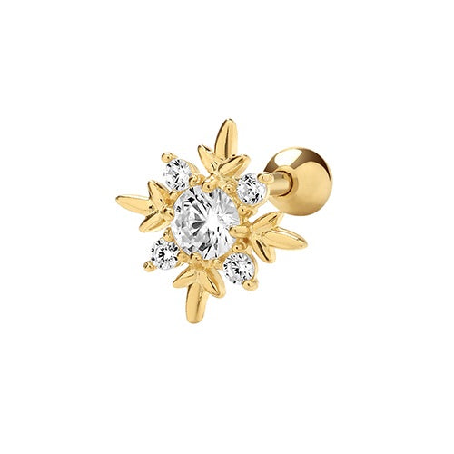 Ear Candy 9ct Gold CZ Snowflake Cartilage Stud