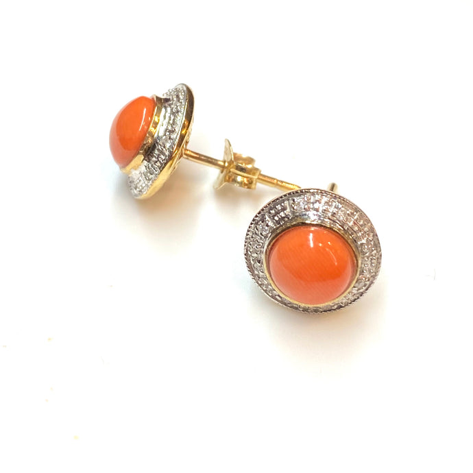 9ct Gold Coral & Diamond Round Stud Earrings