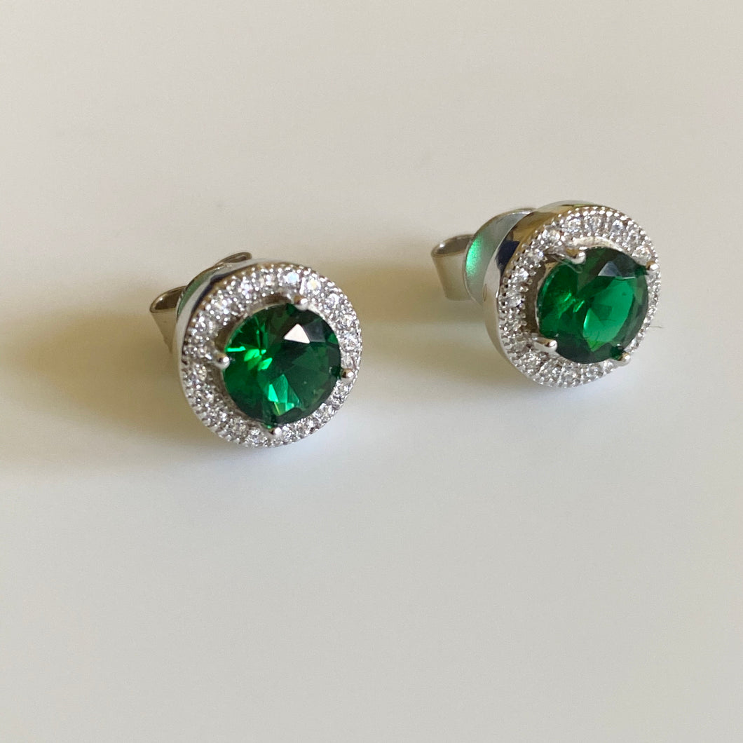 Silver Green & CZ Round Halo Earrings