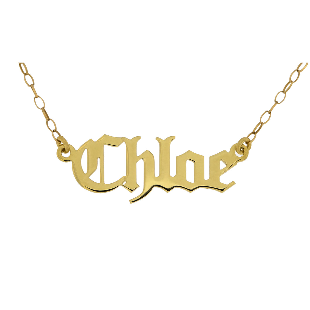 9ct Gold Name Plate Necklace - Old English