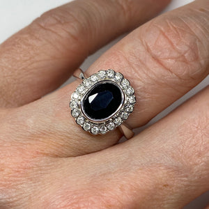 9ct White Gold Sapphire & Diamond Cluster Ring