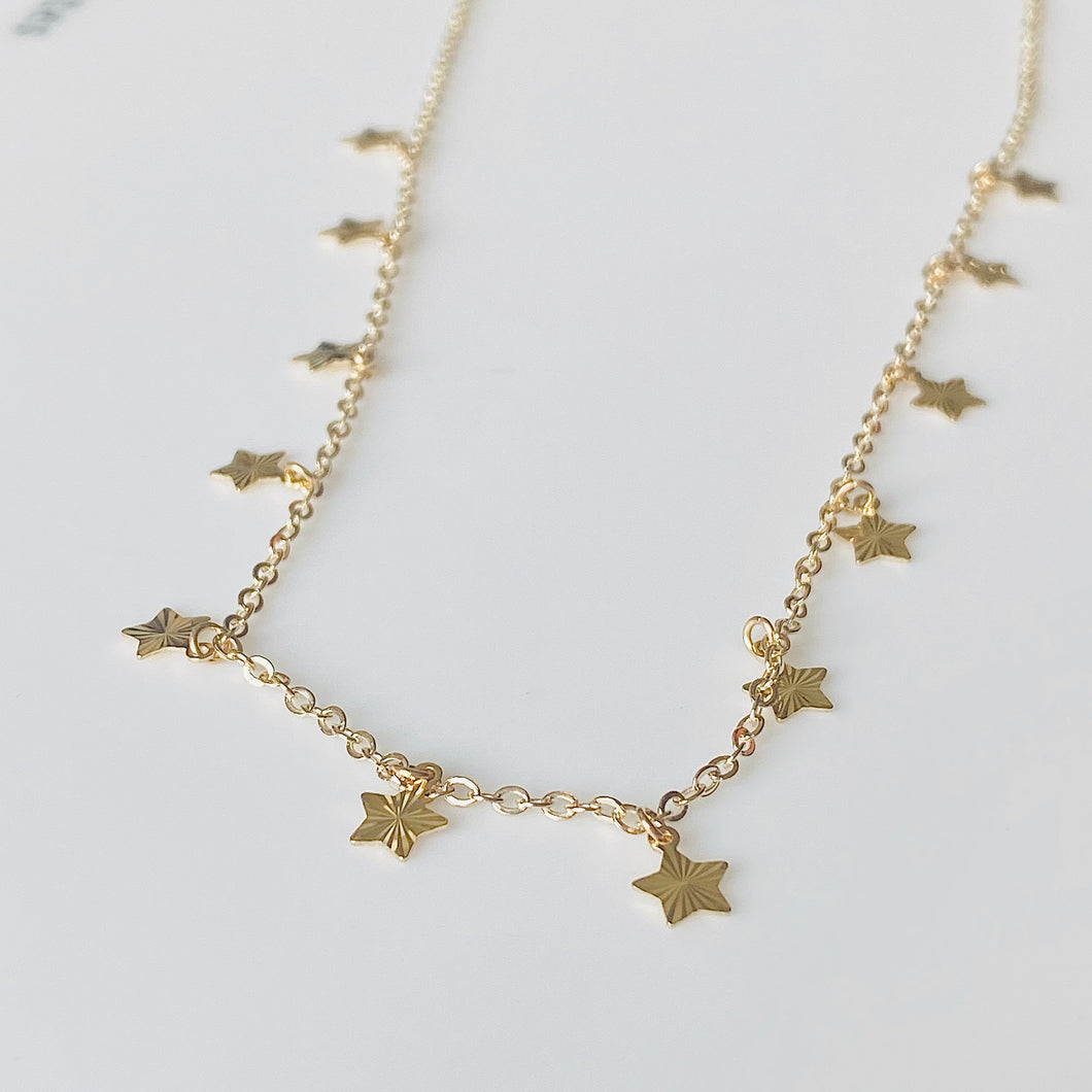 9ct Gold Dozen Stars Necklace