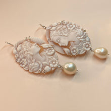 Load image into Gallery viewer, Cameo & Pearl Drop Earrings - Medium