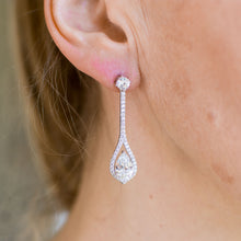 Load image into Gallery viewer, Silver CZ Long Pear Cut Drop Earrings