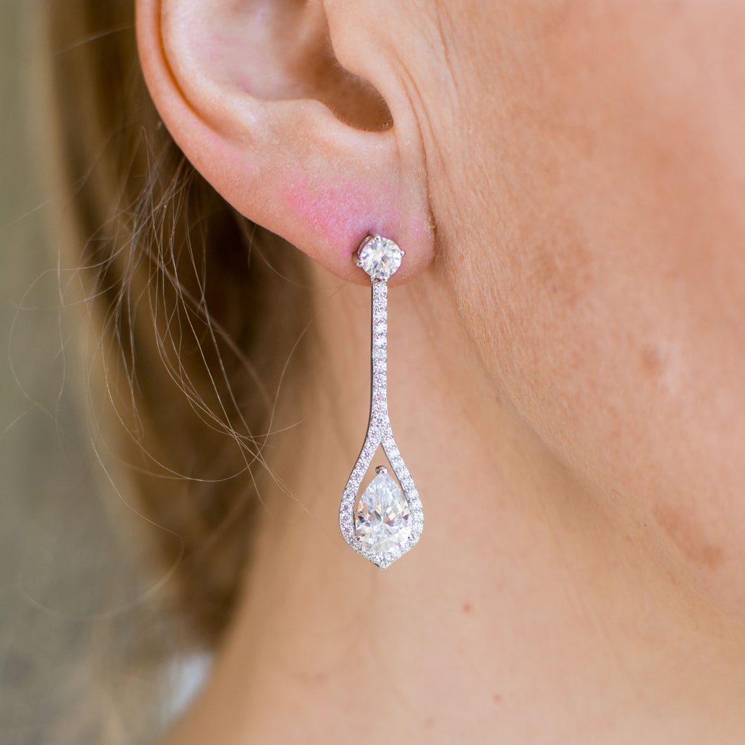 Silver CZ Long Pear Cut Drop Earrings