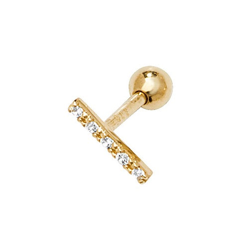 Ear Candy 9ct Gold CZ Bar Cartilage Stud