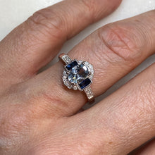 Load image into Gallery viewer, 9ct White Gold Aquamarine, Sapphire & Diamond Ring