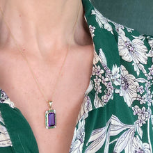 Load image into Gallery viewer, 9ct Gold Amethyst, Emerald & Diamond Pendant Necklace