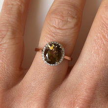 Load image into Gallery viewer, 9ct Rose Gold Smoky Topaz & Diamond Ring