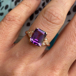 9ct Rose Gold Amethyst & Diamond Ring