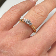 Load image into Gallery viewer, 9ct Gold CZ Trilogy Ring - Channel Set Shoulders