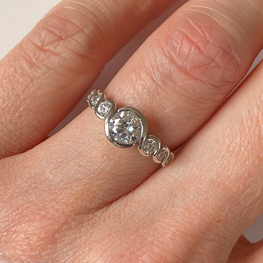 9ct White Gold CZ Solitaire Ring