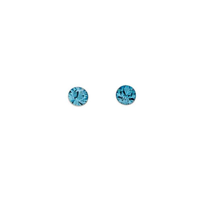 Blue Crystal Round Stud Earrings