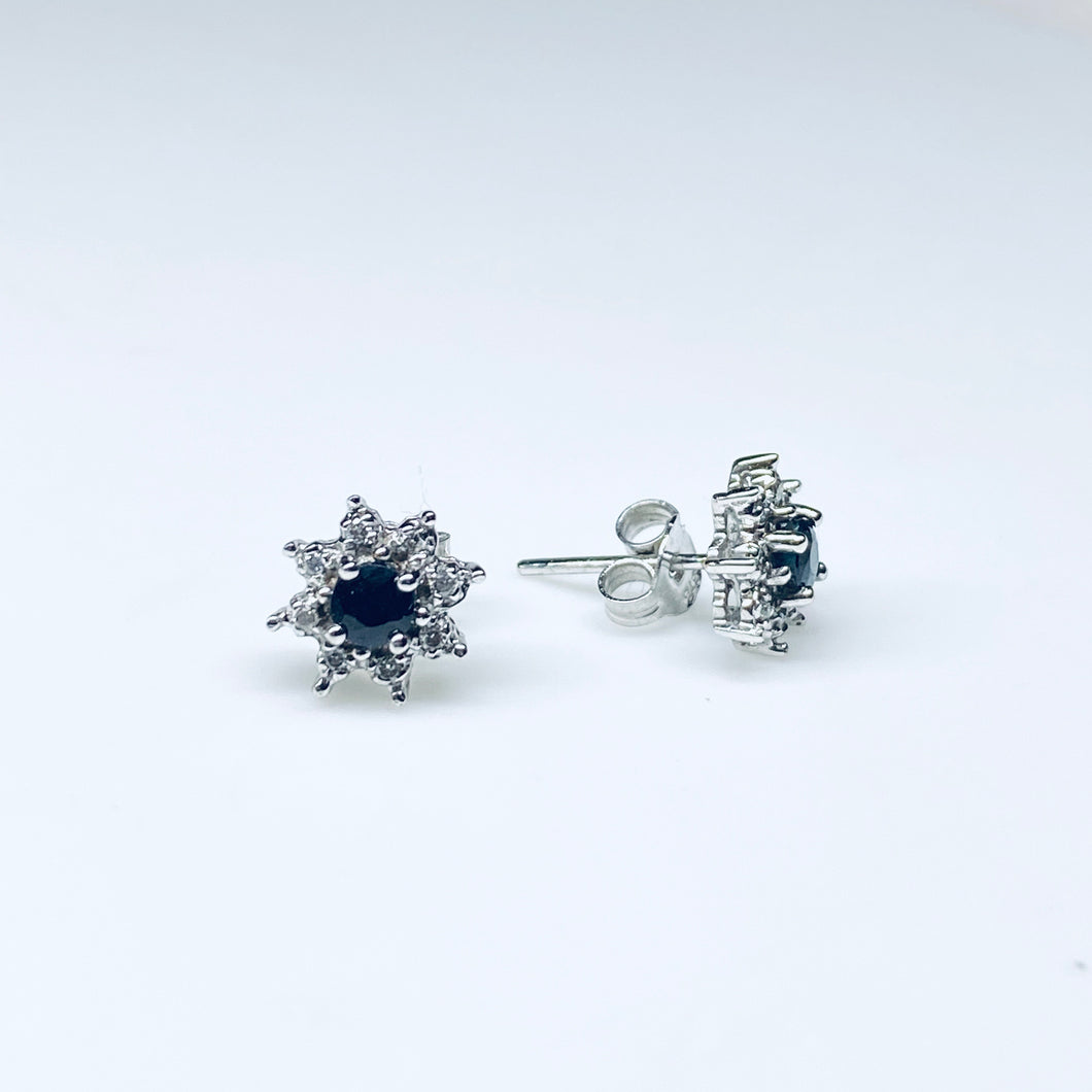9ct White Gold Sapphire & Diamond Stud Earrings