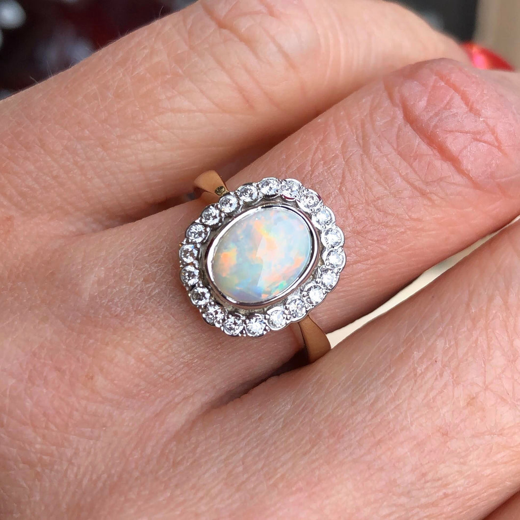 9ct Yellow Gold Gem Opal & Diamond Ring