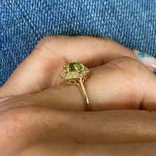 9ct Gold Peridot & Diamond Dress Ring - Hexagon Shape