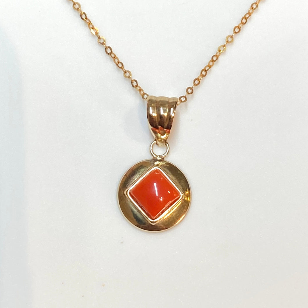 9ct Gold Small Red Coral Pendant Necklace