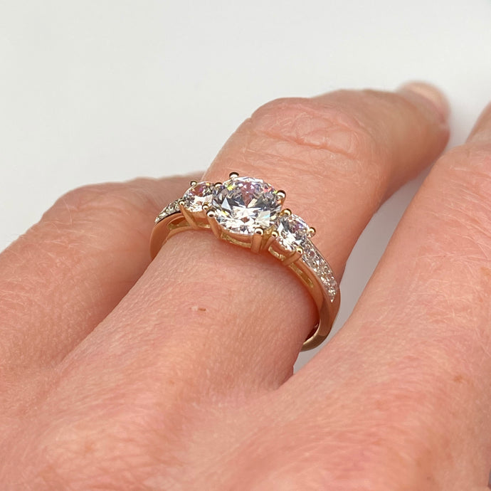 9ct Gold CZ Trilogy Ring with Pavé