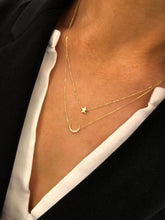 Load image into Gallery viewer, 9ct Gold Double Moon & Stars Necklace with CZs
