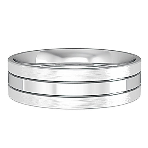 9ct White Gold 6mm Striped Gents Wedding Ring