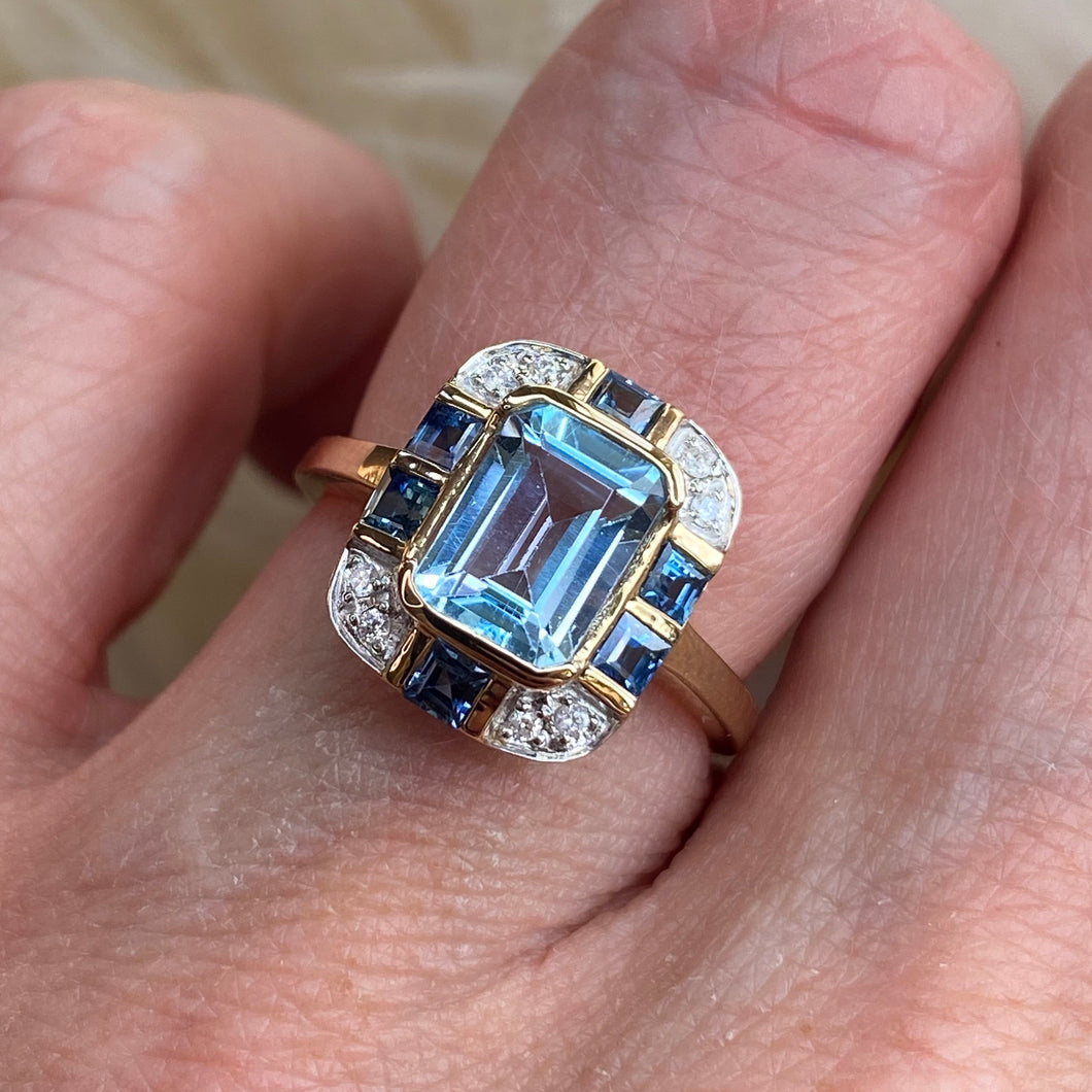 9ct Gold Blue Topaz, Sapphire & Diamond Ring