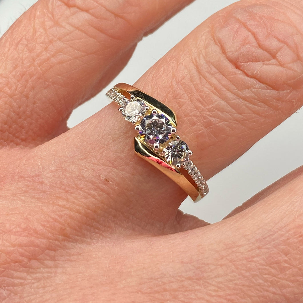 9ct Gold CZ Trilogy Ring - Twist