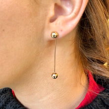 9ct Gold Long Bar Drop Earrings