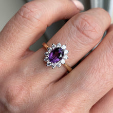 9ct Gold Amethyst & CZ Oval Cluster Ring 9ct yellow gold Size O Other sizes available to order