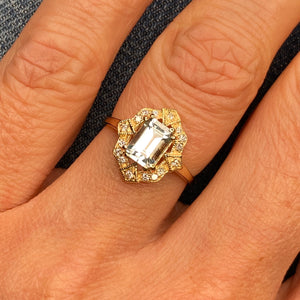 9ct Gold Aquamarine & Diamond Dress Ring - Tonneau Shape