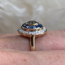 Load image into Gallery viewer, 9ct Gold Aquamarine, Sapphire & Diamond Ring