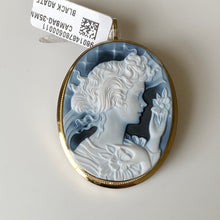 Load image into Gallery viewer, 18ct Gold Black Agate Lady Cameo Brooch/Pendant - Large