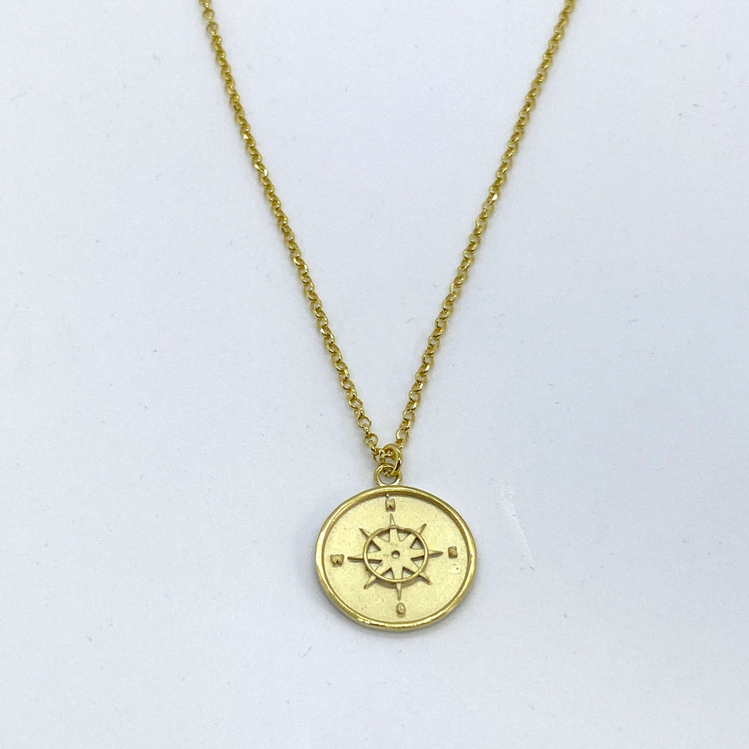 SUNSHINE Compass Disc Necklace - Gold